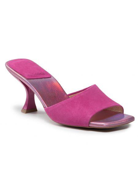 Sandały skórzane eleganckie - różowe R.polański