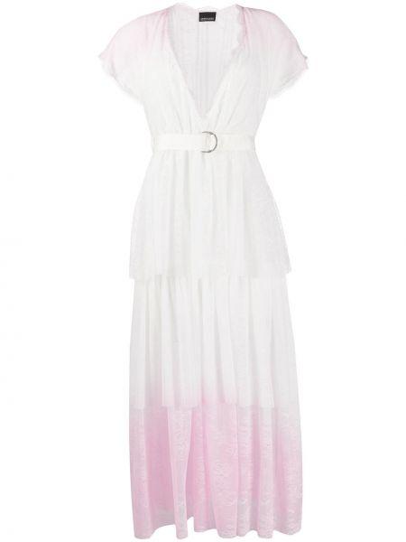 Платье с поясом розовое с цветочным принтом Ermanno Ermanno