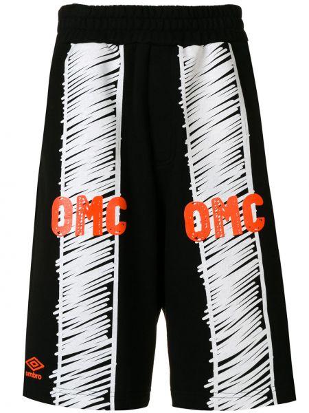 Czarne spodenki sportowe bawełniane z printem Omc