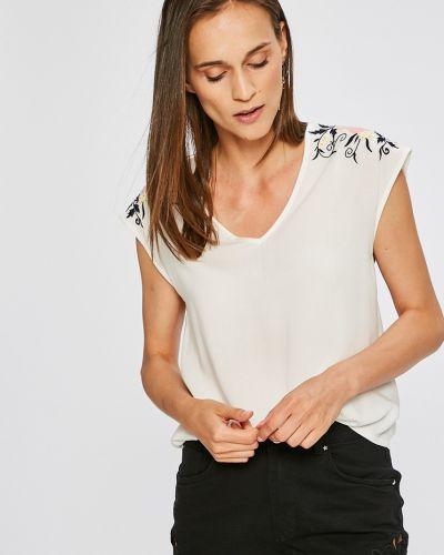 Свободная футболка с вышивкой стрейчевая с V-образным вырезом Vero Moda