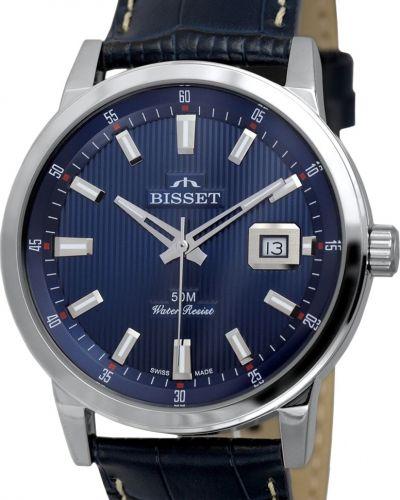 Часы водонепроницаемые с кожаным ремешком швейцарские Bisset