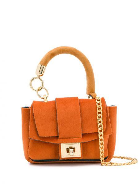 Оранжевая сумка через плечо с перьями Alila
