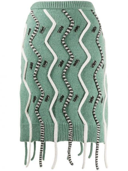 Зеленая юбка с бахромой с поясом из овчины Christian Wijnants