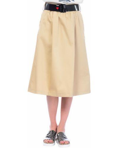 Бежевая юбка хлопковая Love Moschino