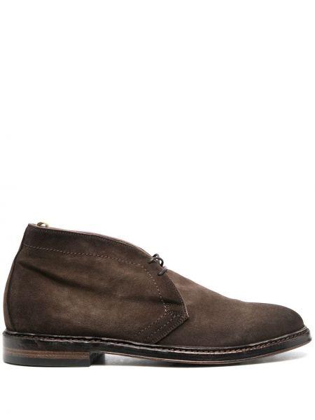Skórzany buty obcasy na pięcie okrągły na sznurowadłach Officine Creative