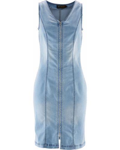 Облегающее платье с V-образным вырезом джинсовое Bonprix