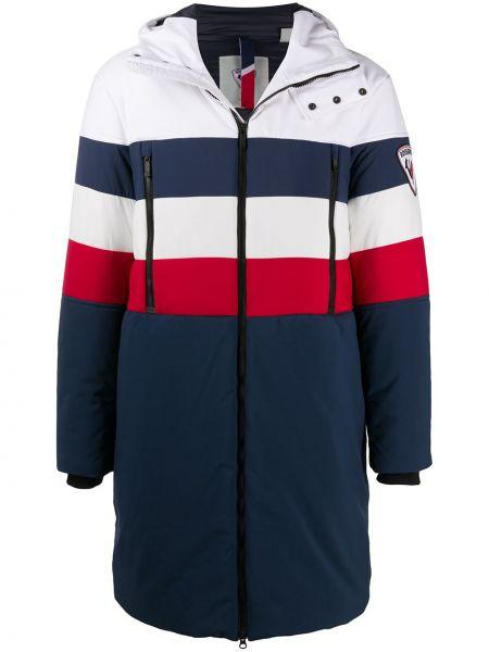 Синее пальто классическое с капюшоном на молнии Rossignol