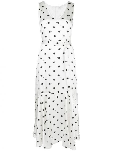 Белое шелковое платье миди без рукавов на молнии Rosetta Getty