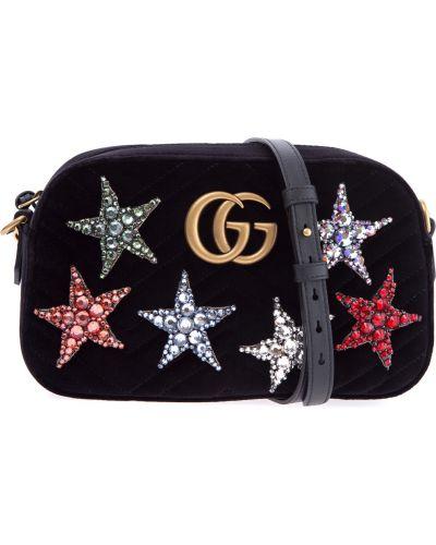 Кожаный сумка с аппликациями с узором Gucci