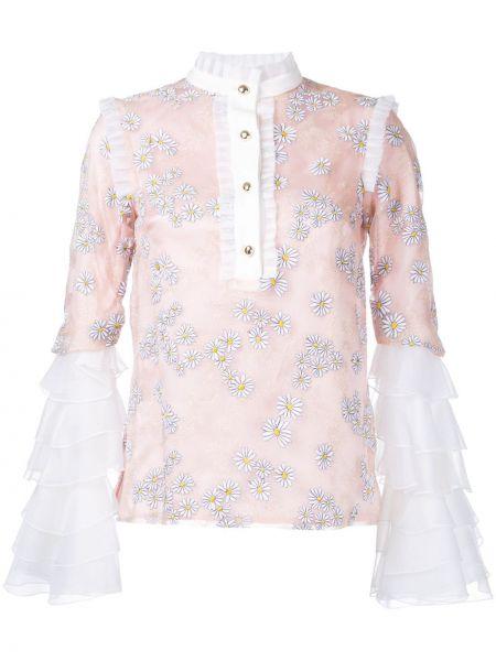 Różowa bluzka z falbanami z jedwabiu Macgraw