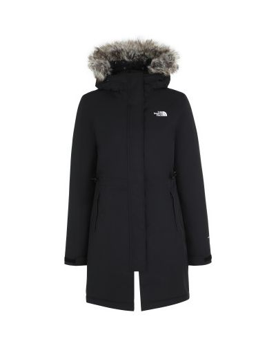 Черная утепленная длинная куртка на молнии The North Face