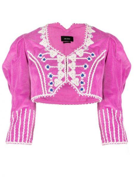 Розовый пиджак на пуговицах из вискозы Isabel Marant