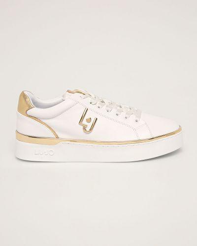 Белые текстильные кроссовки на платформе на шнуровке Liu Jo