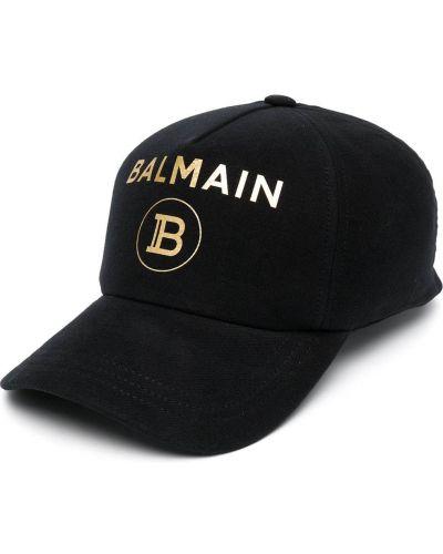 Czarna czapka bawełniana z printem Balmain