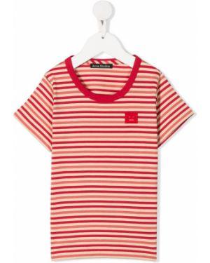 T-shirt w paski bawełniany krótki rękaw Acne Studios Kids