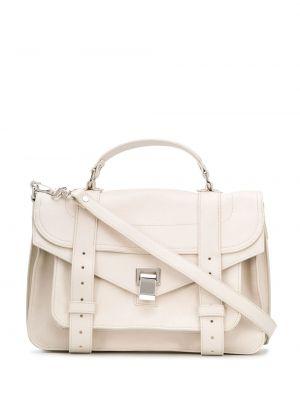 Хлопковая белая кожаная сумка с карманами Proenza Schouler