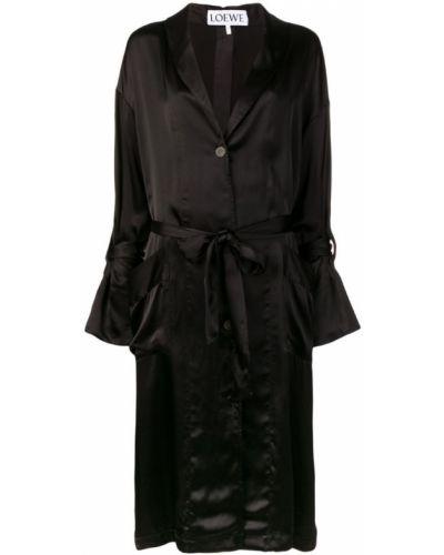 Черное пальто с капюшоном на пуговицах Loewe