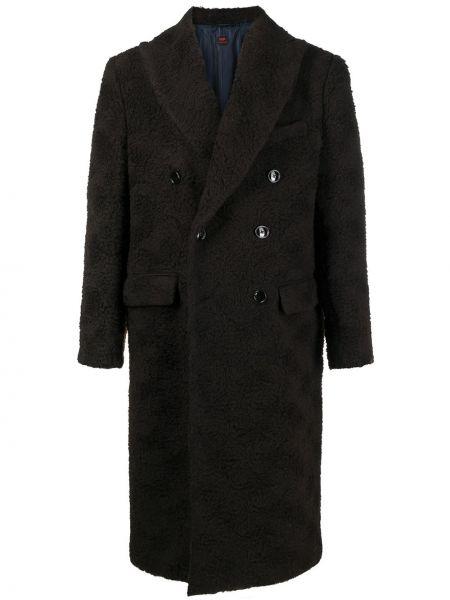 Klasyczny brązowy płaszcz wełniany Mp Massimo Piombo