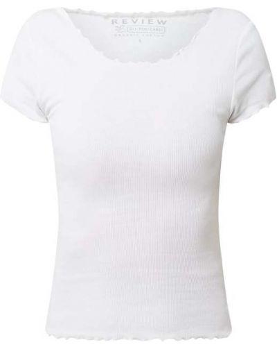 Prążkowany biały t-shirt bawełniany Review
