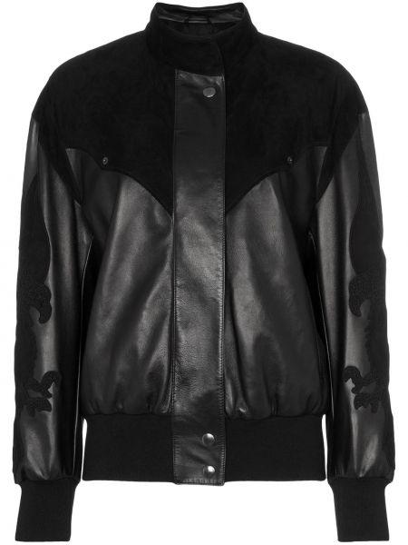 Черная кожаная куртка с поясом Montana