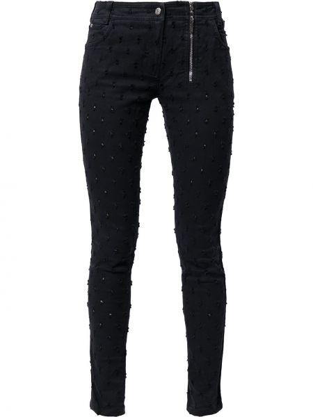 Черные джинсы-скинни с вышивкой винтажные Christian Dior