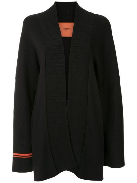 Черное пальто из вискозы с лацканами Osklen