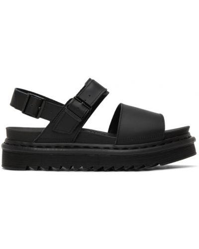 Z paskiem skórzany czarny sandały z klamrą Dr. Martens