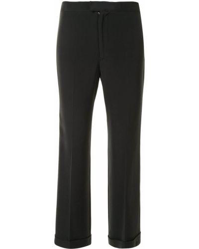 Шелковые черные брюки со складками узкого кроя Yohji Yamamoto Pre-owned