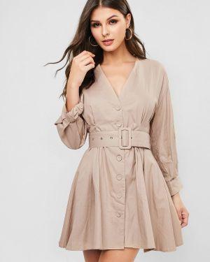 Платье с поясом на пуговицах с манжетами Zaful