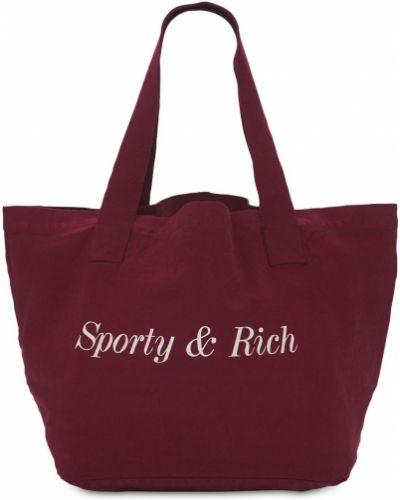 Фиолетовая сумка с ручками с вышивкой Sporty And Rich
