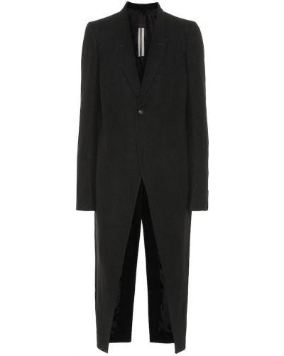 Черное пуховое пальто с капюшоном Rick Owens