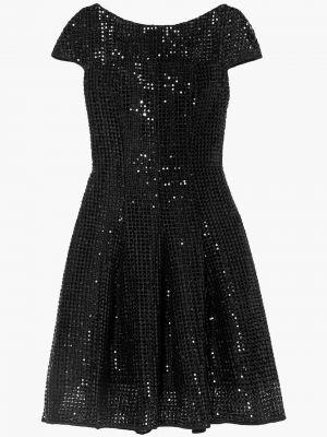 Кружевное черное платье с пайетками Talbot Runhof