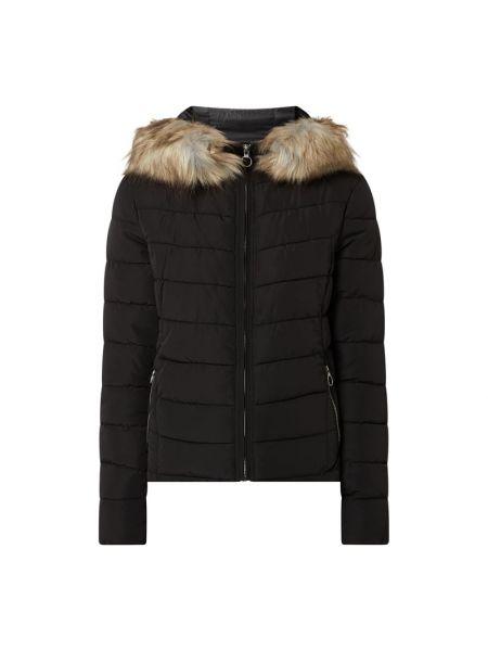 Czarna kurtka pikowana z futerkiem Only