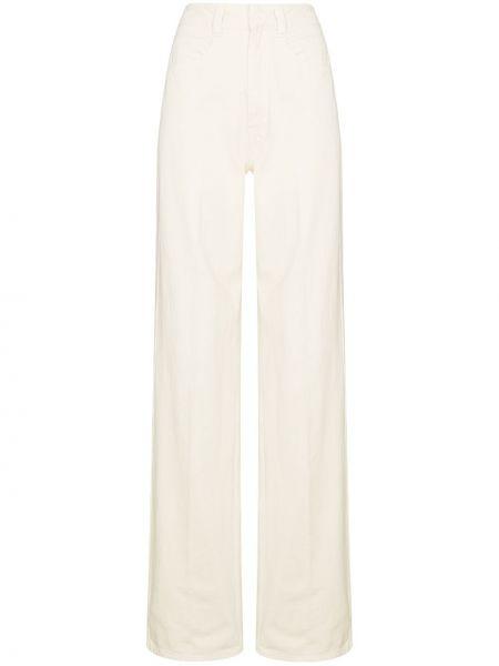Bawełna bawełna biały z wysokim stanem jeansy na wysokości Lemaire