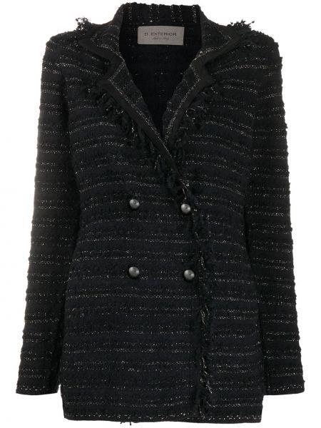 Черная длинная куртка из альпаки двубортная D.exterior