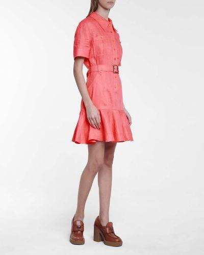 Różowa sukienka safari klamry Zimmermann
