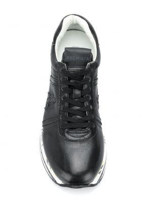Черные кроссовки на платформе на шнуровке с заплатками на платформе Premiata