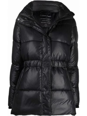 Черный пуховик с поясом Calvin Klein