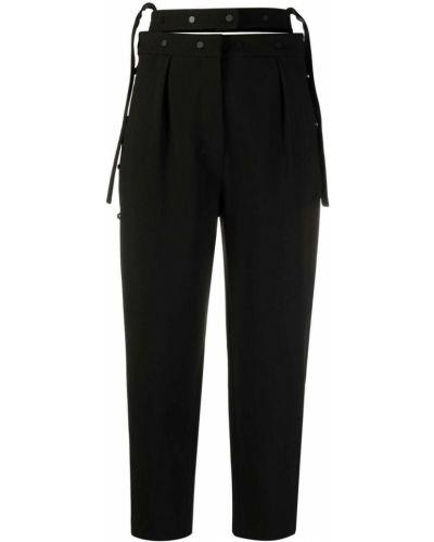 Плиссированные черные укороченные брюки с поясом Krizia