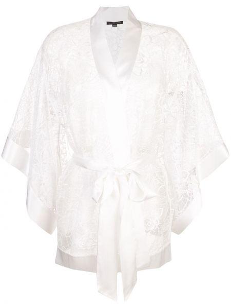 Кружевное с рукавами белое кимоно из вискозы Kiki De Montparnasse