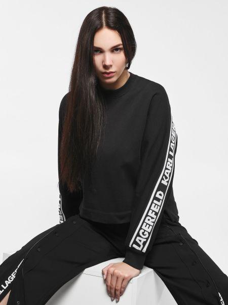 Хлопковый черный свитшот эластичный Karl Lagerfeld