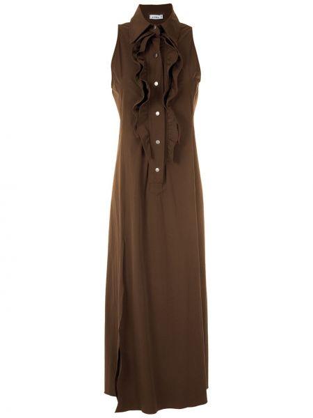 Классическое платье макси на пуговицах с воротником с оборками Amir Slama