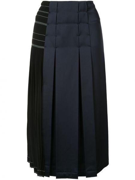 Czarna spódnica z wysokim stanem z jedwabiu Cedric Charlier
