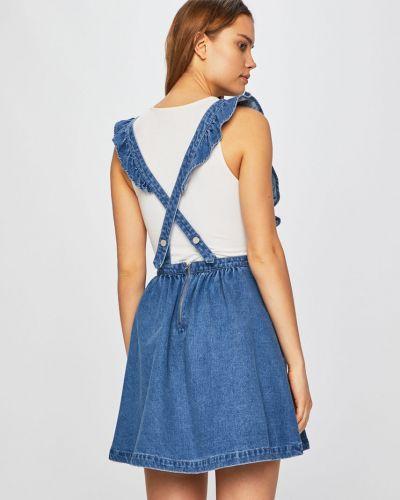Платье мини с завышенной талией - синее Review