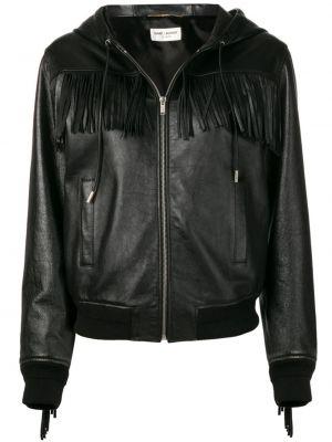 Кожаная куртка с капюшоном черная Saint Laurent