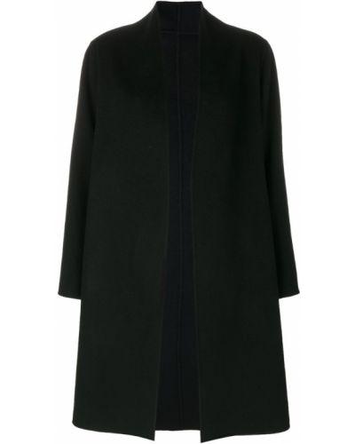 Черное пальто с капюшоном из лисы Liska