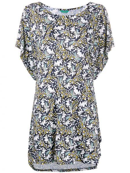Синее приталенное платье мини с драпировкой с вырезом Cia Marítima