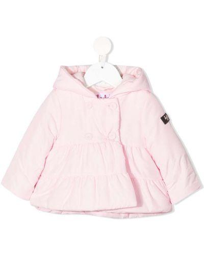 Розовый пуховик с капюшоном двубортный Il Gufo