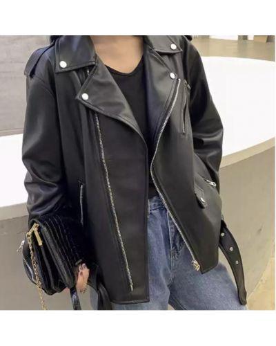 Кожаная куртка оверсайз - черная Rozetka