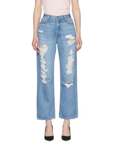 Bawełna bawełna niebieski jeansy do kostek z paskiem Grlfrnd